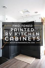 Two Tone Cabinets In Kitchen Painted Rv Kitchen Cabinets Mountainmodernlife Com