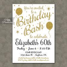 60 yrs birthday ideas 60th birthday invitations printable 60 white gold glitter