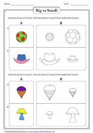 kindergarten activities big and small big and small worksheets