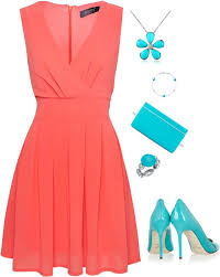 coral with turquoise accessories