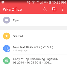 wps office android menu information and features