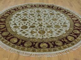 7 u0027 x 7 u0027 round hand knotted ivory rajasthan oriental rug wool and