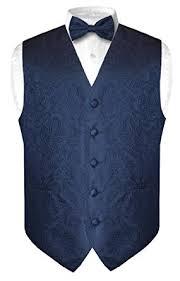 men u0027s paisley design dress vest u0026 bow tie navy blue color bowtie