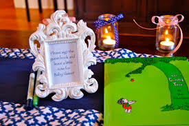 baby shower sign in book let be king showered in