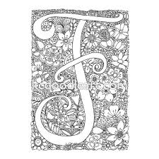 instant digital download coloring page letter f with