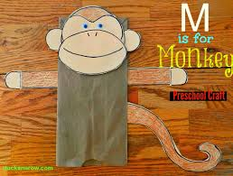 m is for monkey preschool craft paper bag puppets monkey and craft