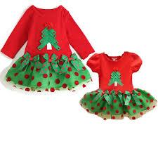 christmas tree girls dress princess party costumes red long short