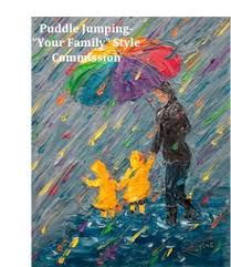 custom painting family or child in rainbow rain puddle