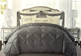 tahari pintuck ruched diamond dark grey 100 cotton duvet cover