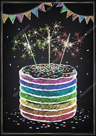 birthday cake sparklers birthday invitation card birthday cake with sparklers stock