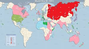 Large Map Of The World Map Of The Allied And Axis Movements In France During Second World