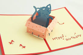 greenfox birthday card little cat box invitations delicacy gift
