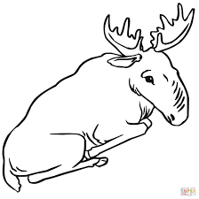 sitting moose coloring page free printable coloring pages