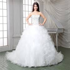 corset wedding dress royal gown strapless satin embroidery organza ruffle corset