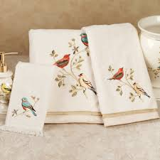 bathroom pretty towel design with gilded bird embroidered bath