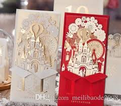 personalized wedding invitations unique 3d laser castle wedding invitations cards laser cut 2016