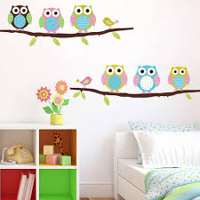 cartoon cute six owl on tree diy wall sticke wallpaper stickers cartoon cute six owl on tree diy wall sticke wallpaper stickers design art decor mural kid s child living room decal home decoration h11570 removable wall