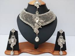 silver jewellery necklace sets images Indian latest bollywood wholesale royal inspired kundan beaded jpg