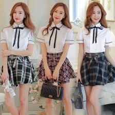 plaid skirt korean students shirt plaid skirt two fashion
