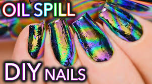 diy oil spill oil slick nail art youtube