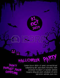 Halloween Party Flyer Template Blue And Black Design With Horror
