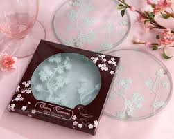 coaster favors cherry blossoms frosted glass coasters