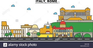 Map Italy Silhouettes Italian Cities by Rome Italy Street Stock Vector Images Alamy
