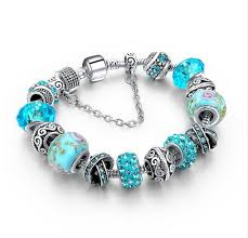 silver plated charm bracelet images Women 39 s crystal beads silver plated charm bracelet png