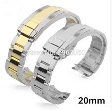 solid metal bracelet images High quality 20mm silver 2 tone stainless steel watch band solid jpg