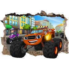 blaze monster machines msmashed wall sticker bedroom art