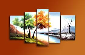 hand painted 5 piece modern landscape oil paintings on canvas wall