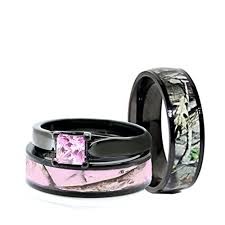 camo wedding ring sets for him and his and hers camo wedding rings set black plated titanium and
