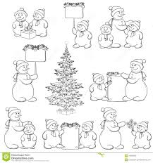set snowman and christmas tree outline royalty free stock photos