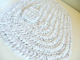 Spa Bath Mat Oval Cotton Bath Mat White W Black Crochet Bath Rug Rag Rug
