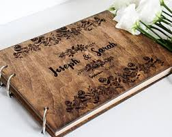 engravable wedding guest book wooden guest book etsy