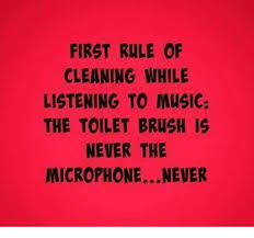 Funny Music Memes - first rule of cleaning while listening to music the toilet brush