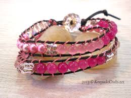 leather bracelet wrap make images Pink beaded leather wrap bracelet jpg