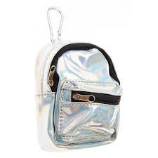 silver holographic mini backpack purse keyring claire u0027s