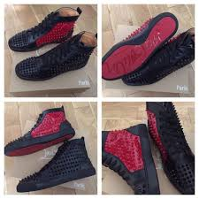 christian louboutin red black leather high top trainers loubs red