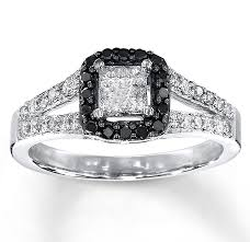 white and black diamond engagement rings 1 carat beautiful princess halo white and black diamond engagement