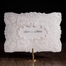 Silver Wedding Invitation Cards Classic White European Style Flower Figure Design Wedding