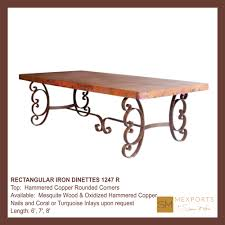 rectangular dining table dark rust brown mesquite wood with copper