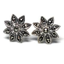 post style earrings sterling silver post style earrings with marcasite by