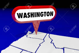 Washington State Detailed Map Stock by Washington Wa State Map Pin Location Destination 3d Illustration