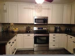 granite countertop elegant white kitchen cabinets single burner