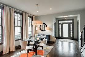 Dining Room Drum Pendant Lighting Contemporary Dining Room With Hardwood Floors Pendant Light In