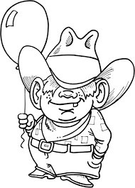 coloring page of cowboy kid holding a balloon coloring point
