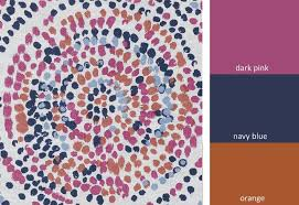 Graphic Upholstery Fabric Navy Blue Orange Upholstery Fabric Pink Orange Splatter