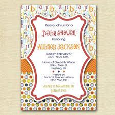 mod baby shower mod abc polka dot baby shower invitation alphabet invitation