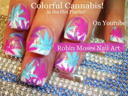 diy nail art tutorial colorful cannabis design 420 robin
